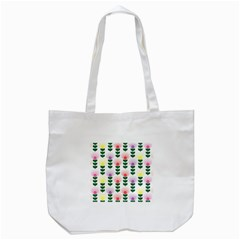 Floral Wallpaer Pattern Bright Bright Colorful Flowers Pattern Wallpaper Background Tote Bag (White)