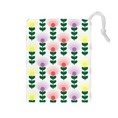 Floral Wallpaer Pattern Bright Bright Colorful Flowers Pattern Wallpaper Background Drawstring Pouches (Large)