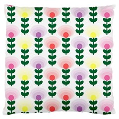 Floral Wallpaer Pattern Bright Bright Colorful Flowers Pattern Wallpaper Background Large Flano Cushion Case (two Sides)