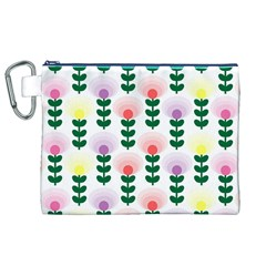 Floral Wallpaer Pattern Bright Bright Colorful Flowers Pattern Wallpaper Background Canvas Cosmetic Bag (XL)