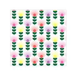 Floral Wallpaer Pattern Bright Bright Colorful Flowers Pattern Wallpaper Background Small Satin Scarf (square)