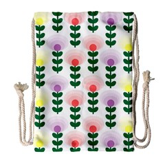 Floral Wallpaer Pattern Bright Bright Colorful Flowers Pattern Wallpaper Background Drawstring Bag (large)