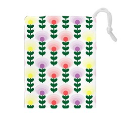 Floral Wallpaer Pattern Bright Bright Colorful Flowers Pattern Wallpaper Background Drawstring Pouches (Extra Large)