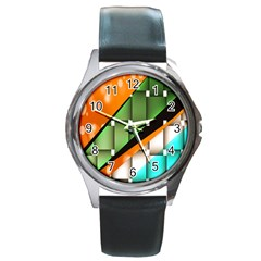Abstract Wallpapers Round Metal Watch