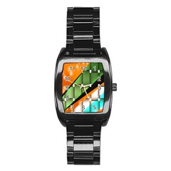 Abstract Wallpapers Stainless Steel Barrel Watch
