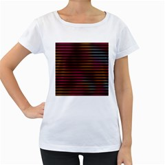 Colorful Venetian Blinds Effect Women s Loose Fit T Shirt (white)