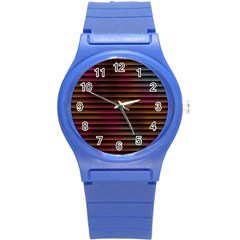 Colorful Venetian Blinds Effect Round Plastic Sport Watch (S)