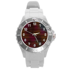 Colorful Venetian Blinds Effect Round Plastic Sport Watch (L)