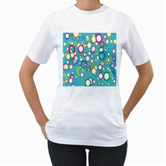Circles Abstract Color Women s T Shirt (white) (two Sided)