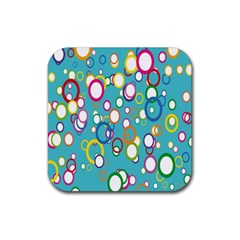 Circles Abstract Color Rubber Coaster (Square)