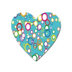 Circles Abstract Color Heart Magnet