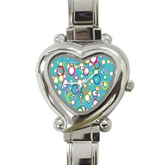 Circles Abstract Color Heart Italian Charm Watch