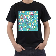 Circles Abstract Color Men s T-Shirt (Black) (Two Sided)