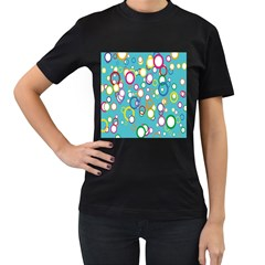 Circles Abstract Color Women s T-Shirt (Black) (Two Sided)