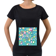 Circles Abstract Color Women s Loose-Fit T-Shirt (Black)