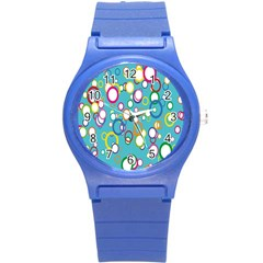 Circles Abstract Color Round Plastic Sport Watch (S)