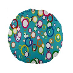 Circles Abstract Color Standard 15  Premium Round Cushions