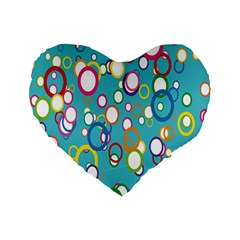 Circles Abstract Color Standard 16  Premium Heart Shape Cushions