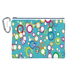 Circles Abstract Color Canvas Cosmetic Bag (L)