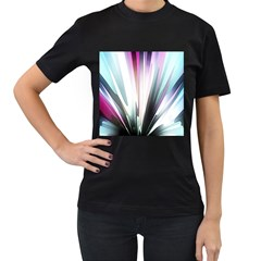 Flower Petals Abstract Background Wallpaper Women s T-Shirt (Black) (Two Sided)