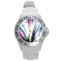 Flower Petals Abstract Background Wallpaper Round Plastic Sport Watch (L)