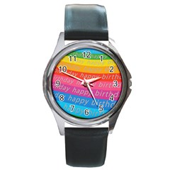 Colorful Happy Birthday Wallpaper Round Metal Watch