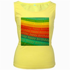Colorful Happy Birthday Wallpaper Women s Yellow Tank Top