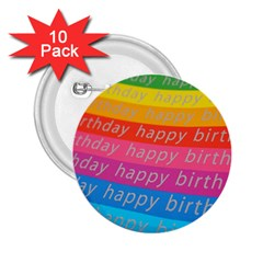 Colorful Happy Birthday Wallpaper 2.25  Buttons (10 pack)