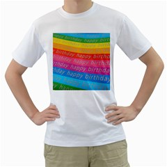 Colorful Happy Birthday Wallpaper Men s T-Shirt (White) (Two Sided)