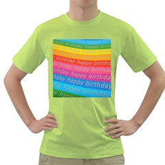 Colorful Happy Birthday Wallpaper Green T-Shirt