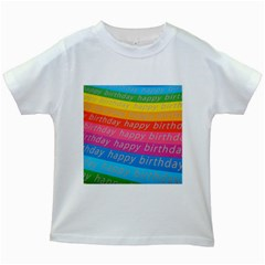 Colorful Happy Birthday Wallpaper Kids White T Shirts