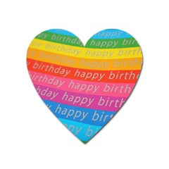 Colorful Happy Birthday Wallpaper Heart Magnet