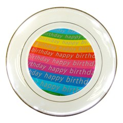 Colorful Happy Birthday Wallpaper Porcelain Plates