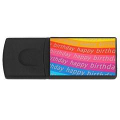 Colorful Happy Birthday Wallpaper Usb Flash Drive Rectangular (4 Gb)