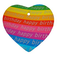 Colorful Happy Birthday Wallpaper Heart Ornament (two Sides)