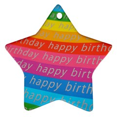 Colorful Happy Birthday Wallpaper Star Ornament (two Sides)