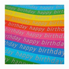 Colorful Happy Birthday Wallpaper Medium Glasses Cloth (2 Side)