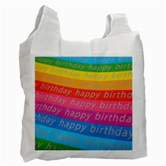 Colorful Happy Birthday Wallpaper Recycle Bag (one Side)