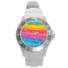 Colorful Happy Birthday Wallpaper Round Plastic Sport Watch (L)