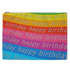 Colorful Happy Birthday Wallpaper Cosmetic Bag (XXL)