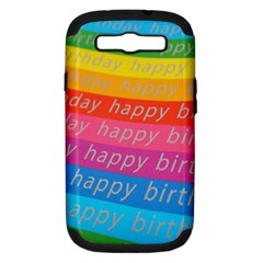 Colorful Happy Birthday Wallpaper Samsung Galaxy S III Hardshell Case (PC+Silicone)