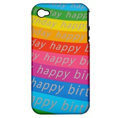 Colorful Happy Birthday Wallpaper Apple iPhone 4/4S Hardshell Case (PC+Silicone)