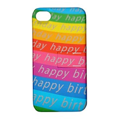 Colorful Happy Birthday Wallpaper Apple iPhone 4/4S Hardshell Case with Stand