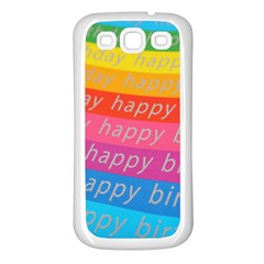Colorful Happy Birthday Wallpaper Samsung Galaxy S3 Back Case (White)