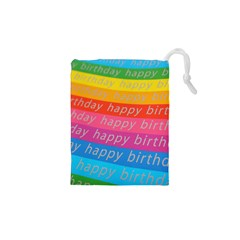 Colorful Happy Birthday Wallpaper Drawstring Pouches (xs)