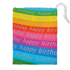 Colorful Happy Birthday Wallpaper Drawstring Pouches (xxl)