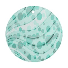 Abstract Background Teal Bubbles Abstract Background Of Waves Curves And Bubbles In Teal Green Ornament (Round)