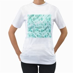 Abstract Background Teal Bubbles Abstract Background Of Waves Curves And Bubbles In Teal Green Women s T-Shirt (White) (Two Sided)