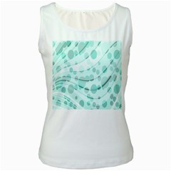 Abstract Background Teal Bubbles Abstract Background Of Waves Curves And Bubbles In Teal Green Women s White Tank Top