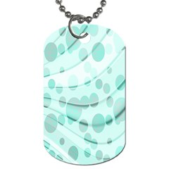 Abstract Background Teal Bubbles Abstract Background Of Waves Curves And Bubbles In Teal Green Dog Tag (Two Sides)